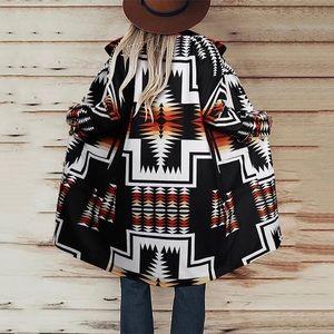 Native Boho Tribal Aztec Luxe Blanket Trench Coat